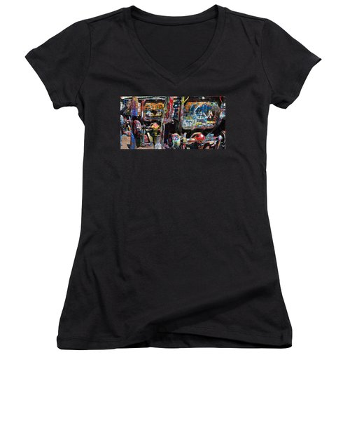 Cadillac Ranch Abstract Women's V-Neck (Athletic Fit)