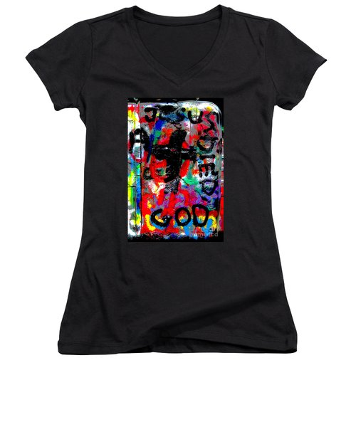 Women's V-Neck T-Shirt (Junior Cut) featuring the photograph Cadillac by Randi Grace Nilsberg