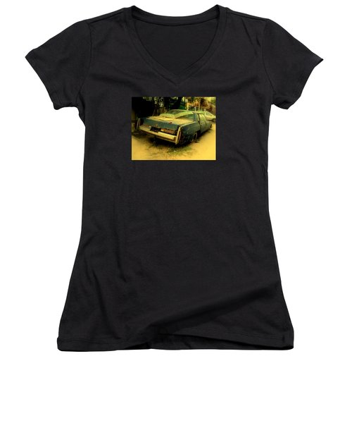 Women's V-Neck T-Shirt (Junior Cut) featuring the photograph Cadillac Wreck by Salman Ravish