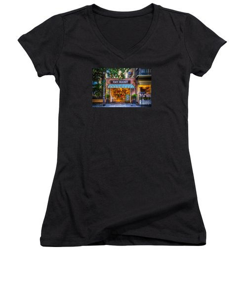 Cafe Beignet Morning Nola Women's V-Neck T-Shirt (Junior Cut) by Kathleen K Parker