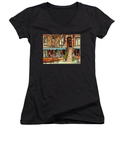 Cafe Mogador Moroccan Mediterranean Cuisine New York Paintings East Village Storefronts Street Scene Women's V-Neck
