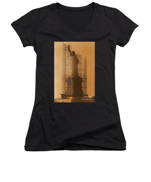 Women's V-Neck T-Shirt (Junior Cut) featuring the photograph New York Lady Liberty Statue Of Liberty Caged Freedom by Michael Hoard