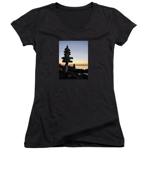Cairns At Sunset At Door Bluff Headlands Women's V-Neck T-Shirt (Junior Cut) by David T Wilkinson