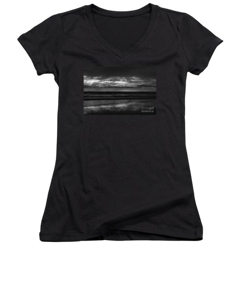 Women's V-Neck T-Shirt (Junior Cut) featuring the photograph  Cardiff Godrays by John F Tsumas