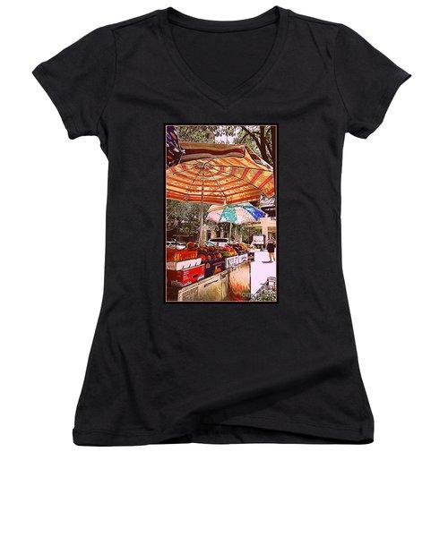 Women's V-Neck T-Shirt (Junior Cut) featuring the photograph California Oranges by Miriam Danar