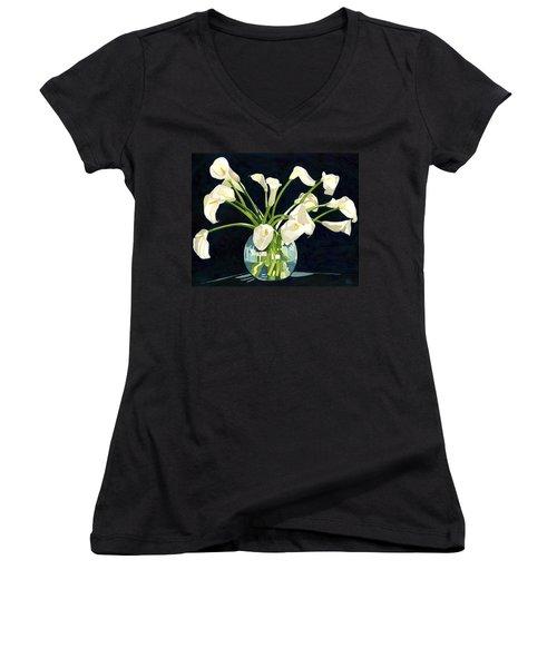 Calla Lilies In Vase Women's V-Neck