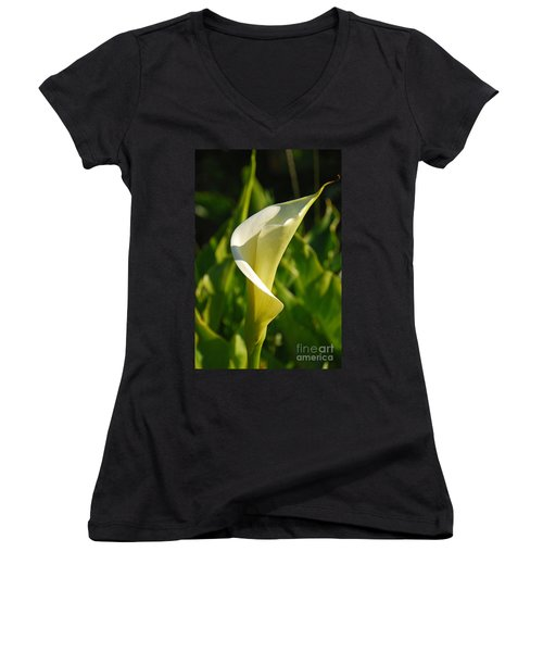 Women's V-Neck T-Shirt (Junior Cut) featuring the photograph Calla Lily by Mary Carol Story