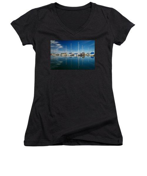 Calm Masts Women's V-Neck T-Shirt (Junior Cut) by James Eddy