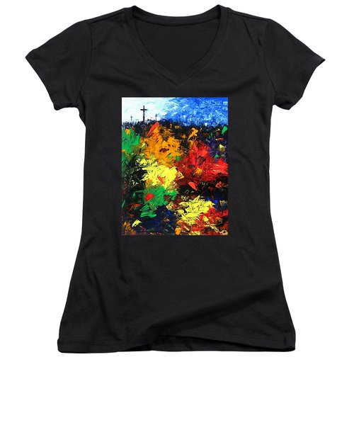 Calvary Hill Women's V-Neck T-Shirt (Junior Cut) by Kume Bryant