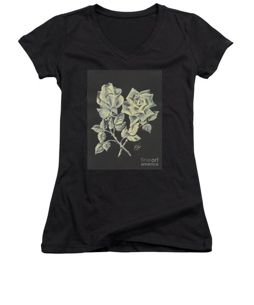 Women's V-Neck T-Shirt (Junior Cut) featuring the painting Cameo Rose by Carol Wisniewski