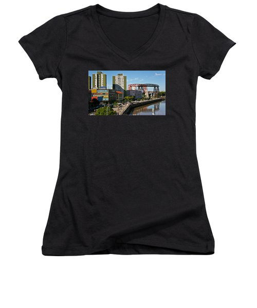 Women's V-Neck T-Shirt (Junior Cut) featuring the photograph Caminito by Silvia Bruno