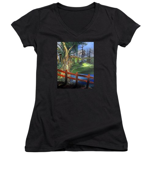 Women's V-Neck T-Shirt (Junior Cut) featuring the painting Camino Real Park by Mary Ellen Frazee