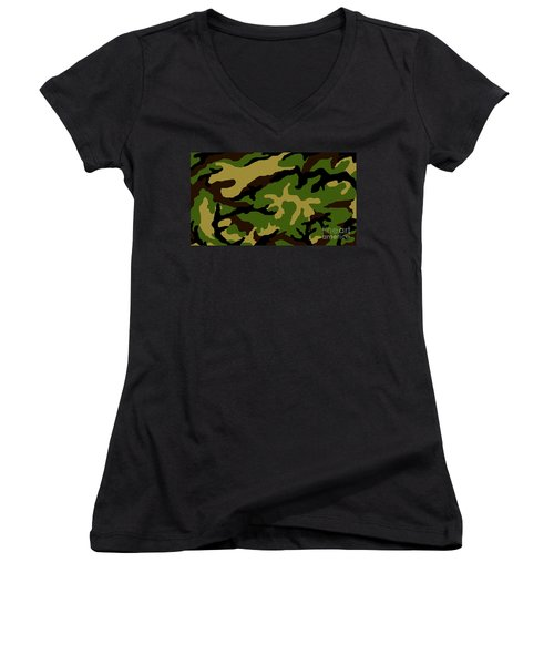 Women's V-Neck T-Shirt (Junior Cut) featuring the painting Camouflage Military Tribute by Roz Abellera Art
