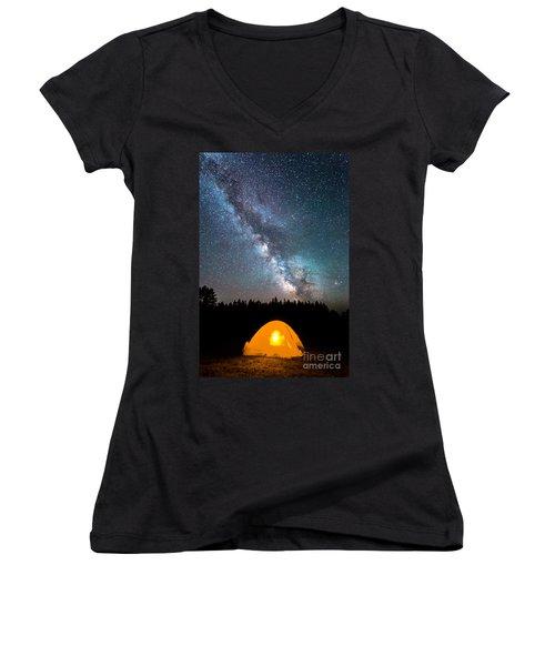 Camping Under The Stars Women's V-Neck