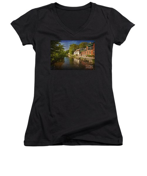 Women's V-Neck T-Shirt (Junior Cut) featuring the photograph Canal Along The Porkyard by Debra Fedchin