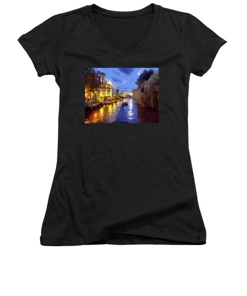 Water Canals Of Amsterdam Women's V-Neck T-Shirt (Junior Cut) by Georgi Dimitrov