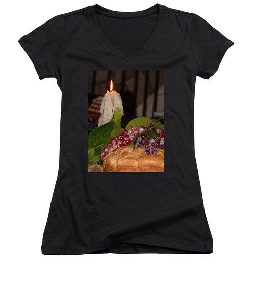 Candle And Grapes Women's V-Neck T-Shirt (Junior Cut) by Marcia Socolik