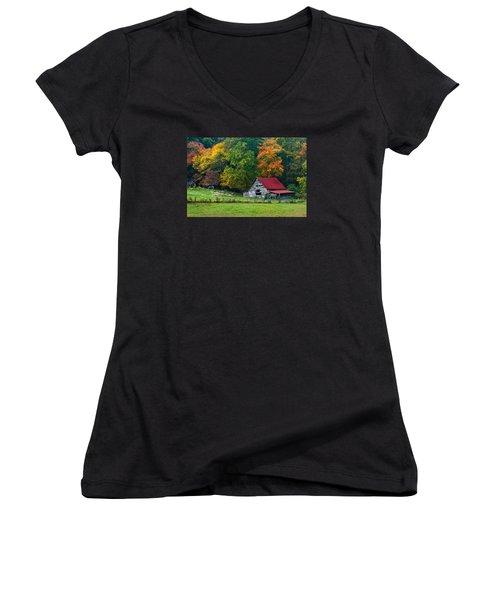 Candy Mountain Women's V-Neck T-Shirt (Junior Cut) by Debra and Dave Vanderlaan