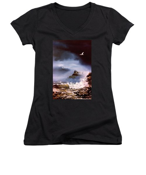 Women's V-Neck T-Shirt (Junior Cut) featuring the painting Cannon Beach Oregon by Craig T Burgwardt