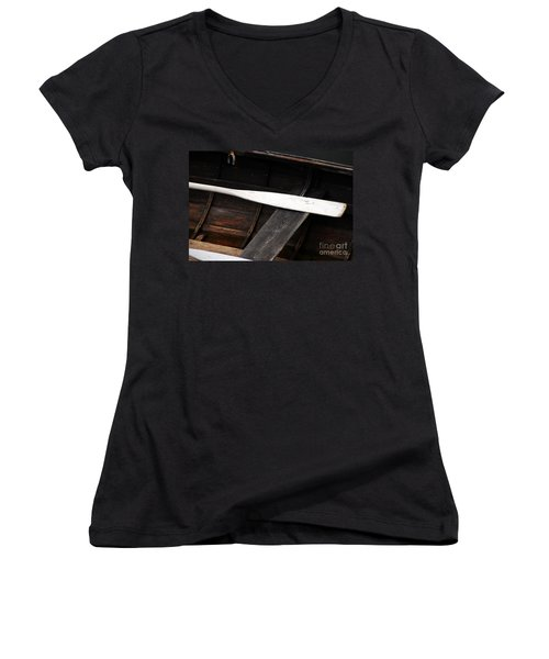 Women's V-Neck T-Shirt (Junior Cut) featuring the photograph Canoe And Oar by Mary Carol Story
