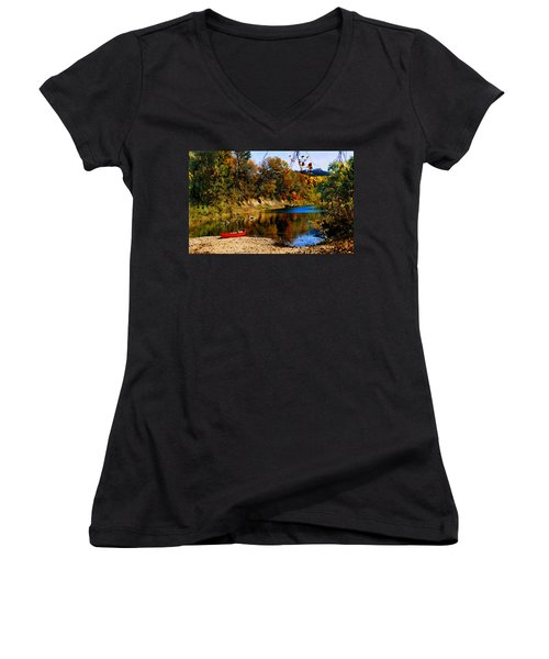 Canoe On The Gasconade River Women's V-Neck T-Shirt