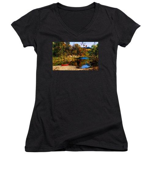 Canoe On The Gasconade River Women's V-Neck T-Shirt