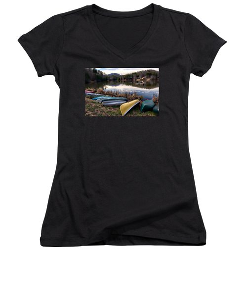 Canoes In Nc Women's V-Neck (Athletic Fit)