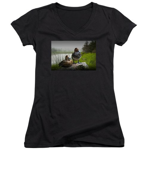 Canvasback Duck Pair By A Pond Women's V-Neck (Athletic Fit)