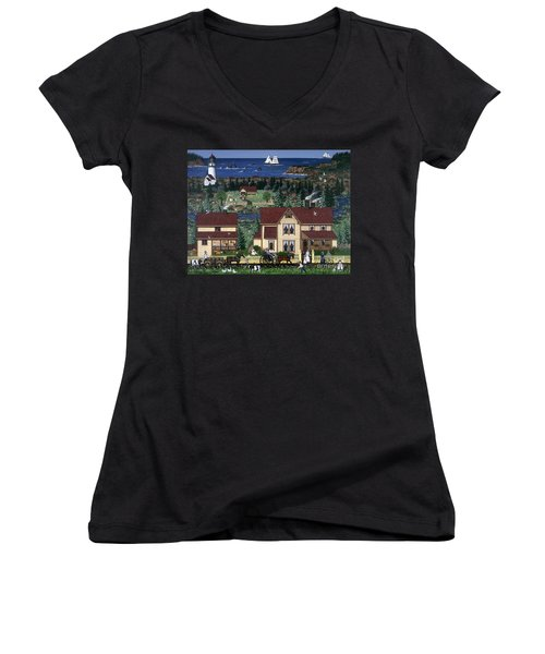 Women's V-Neck T-Shirt (Junior Cut) featuring the painting Cape Blanco by Jennifer Lake