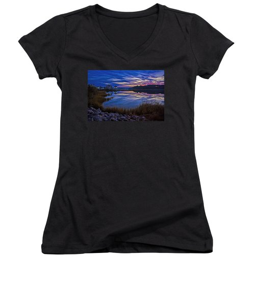 Cape Charles Sunrise Women's V-Neck T-Shirt