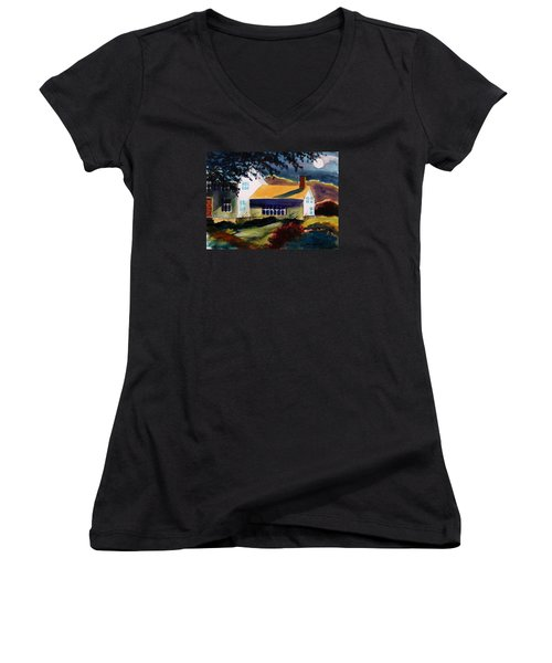 Women's V-Neck T-Shirt (Junior Cut) featuring the painting Cape Cod Moon by John Williams