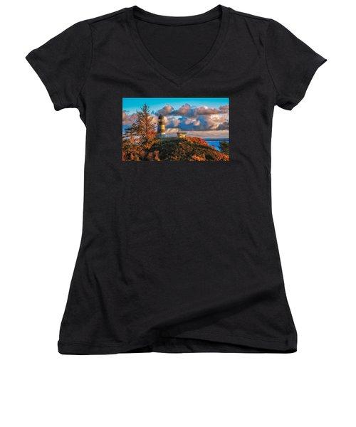 Cape Disappointment Light House Women's V-Neck T-Shirt (Junior Cut)