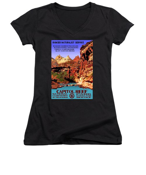Capitol Reef National Park Vintage Poster Women's V-Neck T-Shirt