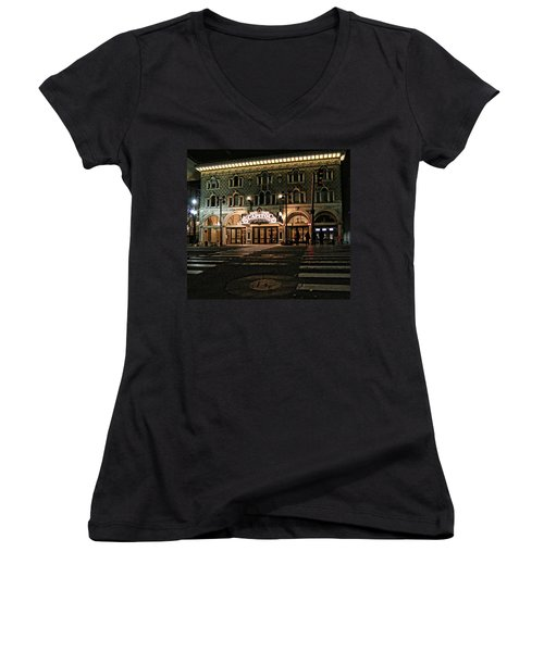 Women's V-Neck T-Shirt (Junior Cut) featuring the photograph Capitol Theatre by Ely Arsha