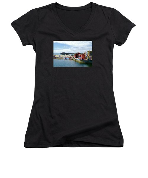Capitola Begonia Festival Weekend Women's V-Neck T-Shirt (Junior Cut) by Amelia Racca
