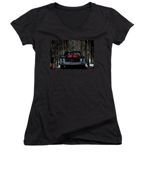 Car Art Chevy Chevelle Ss Hdr Women's V-Neck T-Shirt (Junior Cut) by Lesa Fine