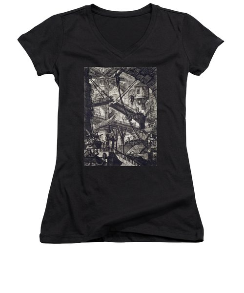 Carceri Vii Women's V-Neck T-Shirt (Junior Cut) by Giovanni Battista Piranesi