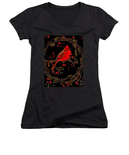 Cardinal On Metal Wreath Women's V-Neck T-Shirt (Junior Cut) by Janette Boyd