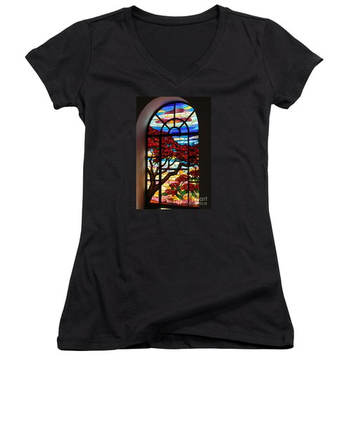 Women's V-Neck T-Shirt (Junior Cut) featuring the photograph Caribbean Stained Glass  by The Art of Alice Terrill