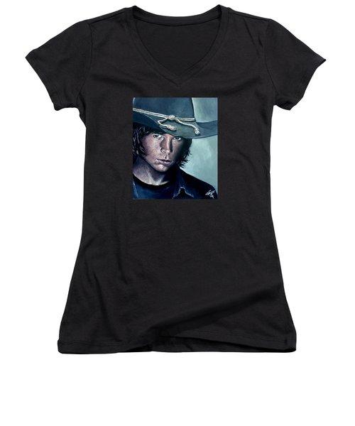 Carl Grimes Women's V-Neck T-Shirt (Junior Cut) by Tom Carlton