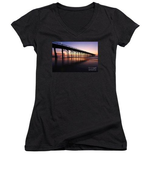 North Carolina Beach Pier - Sunrise Women's V-Neck