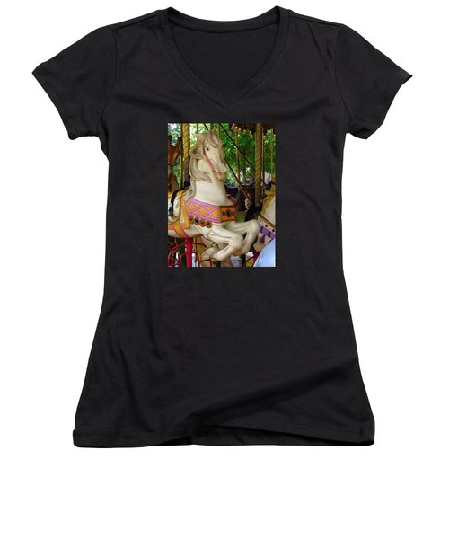 Women's V-Neck T-Shirt (Junior Cut) featuring the photograph Carousel Horse by Phyllis Beiser