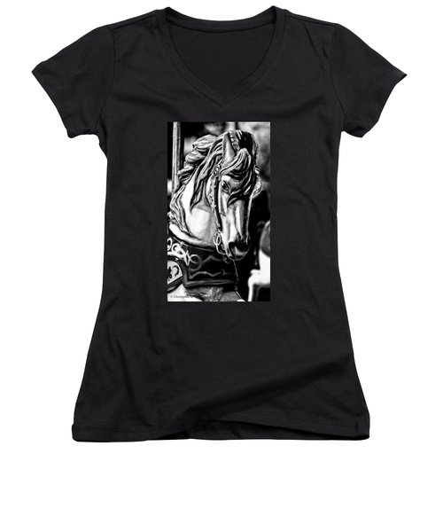 Carousel Horse Two - Bw Women's V-Neck