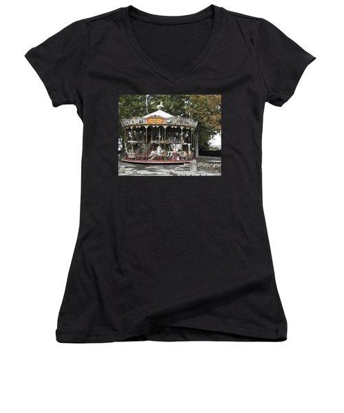 Carousel Women's V-Neck T-Shirt (Junior Cut) by Victoria Harrington