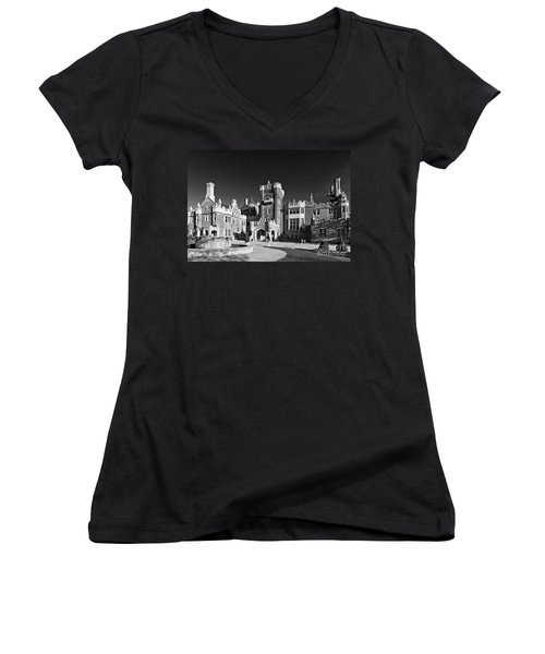 Casa Loma In Toronto In Black And White Women's V-Neck T-Shirt (Junior Cut) by Les Palenik