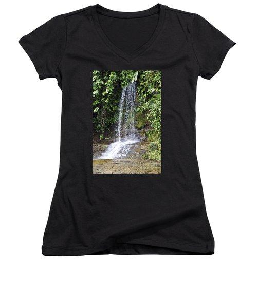 Cascada Pequena Women's V-Neck T-Shirt (Junior Cut) by Kathy McClure
