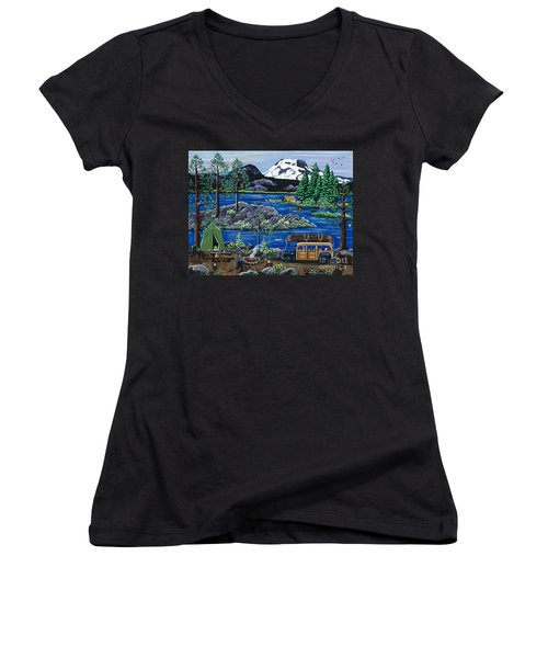 Women's V-Neck T-Shirt (Junior Cut) featuring the painting Cascade Lake Sparks by Jennifer Lake