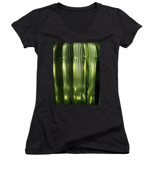 Cascading Green Women's V-Neck T-Shirt (Junior Cut) by Leena Pekkalainen