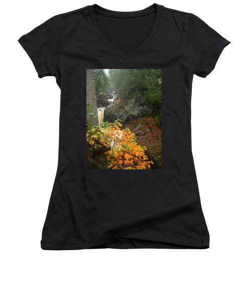 Women's V-Neck T-Shirt (Junior Cut) featuring the photograph Cascading Steps by James Peterson