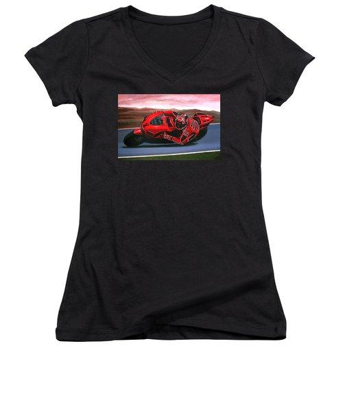 Casey Stoner On Ducati Women's V-Neck